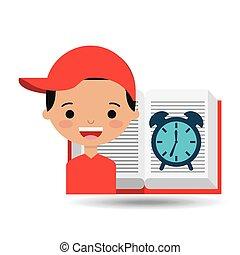 cute boy book open clock