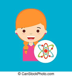 beatiful girl blonde student chemistry vector illustration...