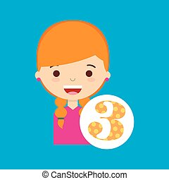 beatiful girl blonde student number vector illustration eps...