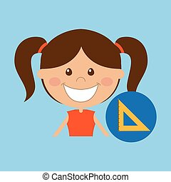 happy girl student school squad icon vector illustration eps...