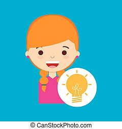 beatiful girl blonde student idea vector illustration eps 10