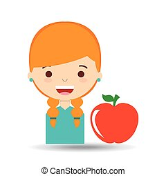 beatiful girl blonde student apple vector illustration eps...