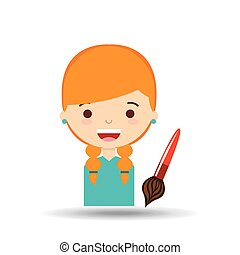 beatiful girl blonde student paint brush vector illustration...