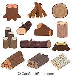 Wood materials logs vector