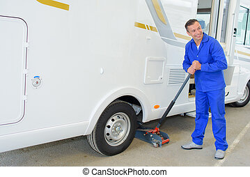 lifting a camper van