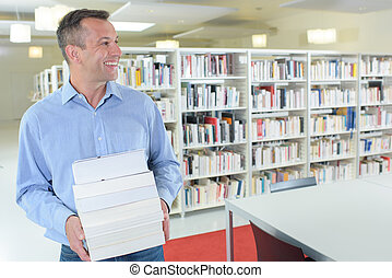 caucasian man in a library