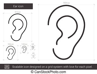 Ear line icon. - Ear vector line icon isolated on white...