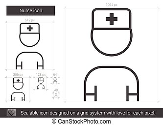 Nurse line icon. - Nurse vector line icon isolated on white...