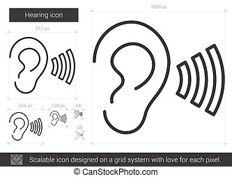 Hearing line icon. - Hearing vector line icon isolated on...