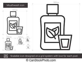 Mouthwash line icon. - Mouthwash vector line icon isolated...