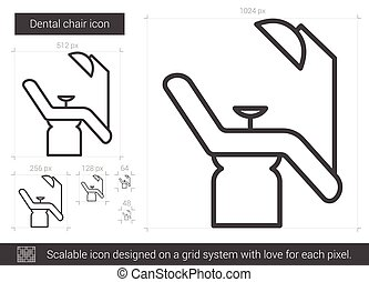 Dental chair line icon. - Dental chair vector line icon...
