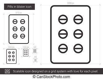 Pills in blister line icon. - Pills in blister vector line...