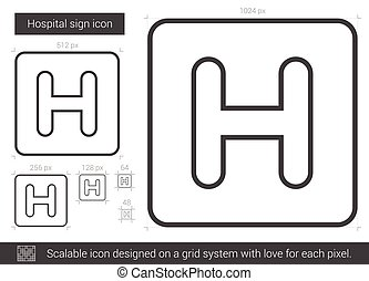 Hospital sign line icon. - Hospital sign vector line icon...