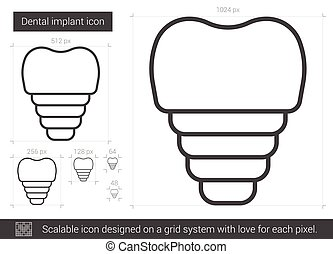 Dental implant line icon. - Dental implant vector line icon...