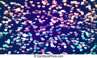 Valentine's day background, flying abstract hearts and particles