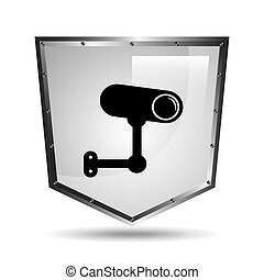 surveillance camera symbol icon shield steel