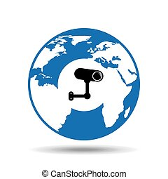 globe world icon surveillance camera design