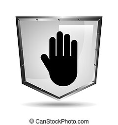 hand symbol shield steel icon