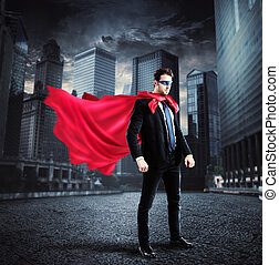 City superhero - Businessman with a superhero cape and mask...