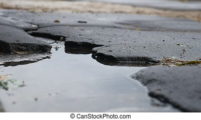 bad asphalt pit is big puddle rain road outdoor - bad...
