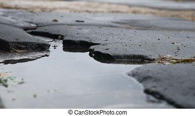 bad asphalt pit is big puddle rain road outdoor - bad...