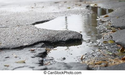 bad asphalt pit is outdoor big puddle rain road - bad...