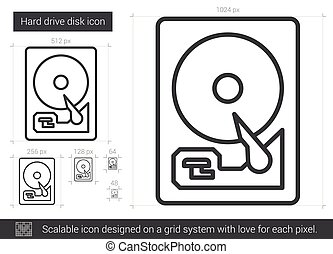 Hard drive disk line icon. - Hard drive disk vector line...