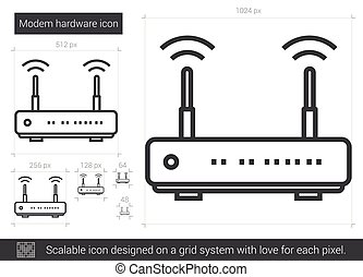 Modem hardware line icon.