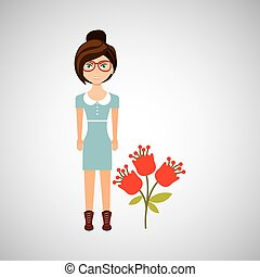 girl character natural three floral icon