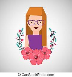 girl cartoon ornamental flower peony vector illustration eps...