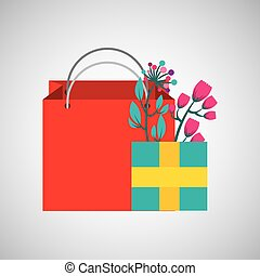 bag gift floral ornato design