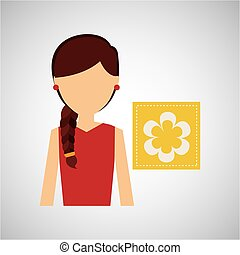 girl icon nature gardenia flower vector illustration eps 10