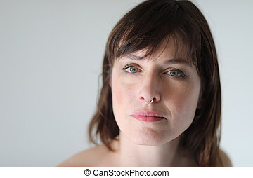 Beautiful Woman with Brown Hair and Beautiful Green Eyes -...
