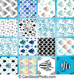 vector seamless pattern with scalar fishes - Seamless...