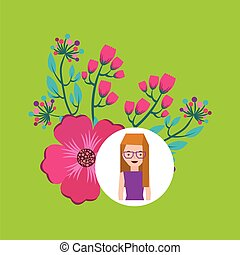 girl cartoon ornamental flower gardenia vector illustration...