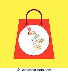 shopping bag with beauty flower