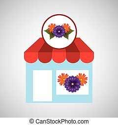 flower store shop concept cute purple daisy vector...