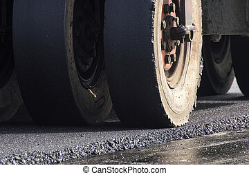 roller compactor - closeup wheel of roller compactor at...