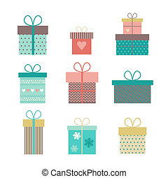 set flat gift icons isolated - Set of icons of gift boxes...
