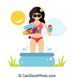 Vector Woman in the pool. Salvation from the heat. Flat style colorful Cartoon illustration.