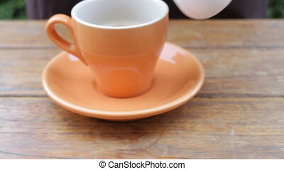 Serving hot cup of coffee, stock video