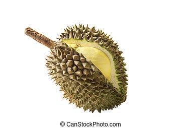 Durian fruit - yellow durian in side Mon Thong durian fruit...