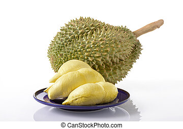 Durian fruit - yellow durian lobes and Mon Thong durian...