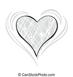 Gray scale Heart - Gray scale Doodle Heart Vector...
