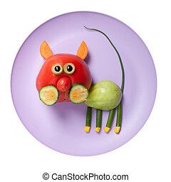tomate, placa, hecho, gato, verde, rojo