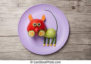 tomate, placa, hecho, gato, verde, tabla, rojo