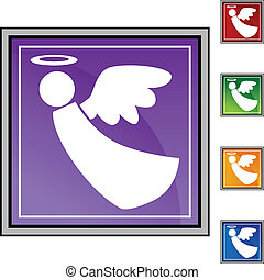 Angel web button isolated on a background