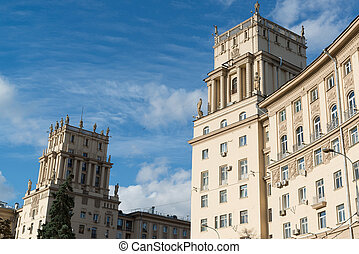 Residential houses Stalinist architecture on Leninsky...