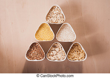 Collection of cereals, grains: rice, oats, buckwheat,...