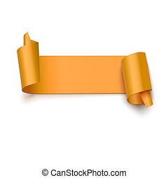 Curved banner on white, 3D illustration - Curved, gol yellow...